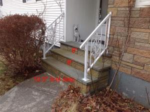 railings, grab bars, outdoor railings, prevent falls on stairs, prevent falls on stairways, double railings