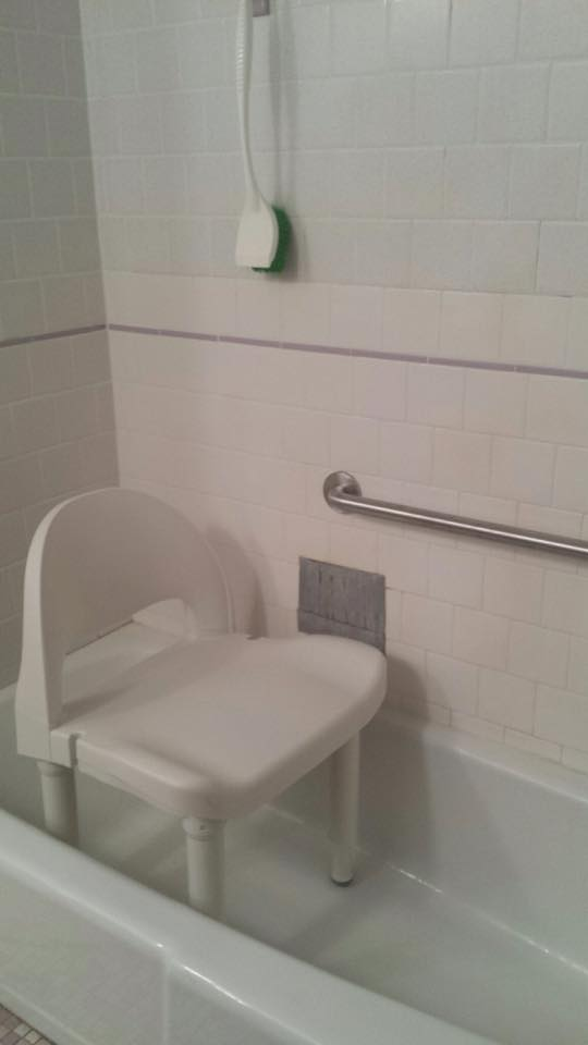 shower chair, chair in shower, bath safety, chair with back, falls, falls in tub, fall prevention, tub safety, bathroom safety